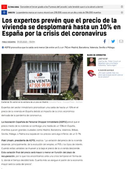 Los expertos prevén que el precio de la vivienda se desplomará hasta un 10% en España por la crisis del coronavirus