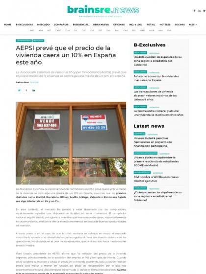 AEPSI prevé que el precio de la vivienda caerá un 10% en España este año